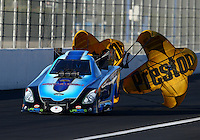 Nov 8, 2013; Pomona, CA, USA; NHRA funny car driver Jeff Diehl during qualifying for the Auto Club Finals at Auto Club Raceway at Pomona. Mandatory Credit: Mark J. Rebilas-
