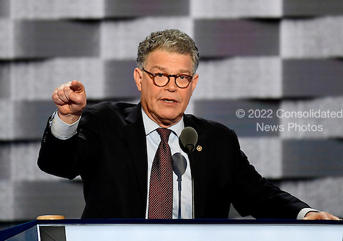 United States Senator Al Franken (Democrat of Minnesota) makes remarks at the 2016 Democratic National Convention at the Wells Fargo Center in Philadelphia, Pennsylvania on Monday, July 25, 2016.<br /> Credit: Ron Sachs / CNP<br /> (RESTRICTION: NO New York or New Jersey Newspapers or newspapers within a 75 mile radius of New York City)