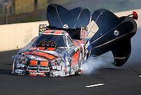 Jul. 19, 2014; Morrison, CO, USA; NHRA funny car driver Matt Hagan during qualifying for the Mile High Nationals at Bandimere Speedway. Mandatory Credit: Mark J. Rebilas-