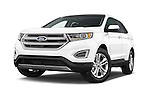 Stock pictures of low aggressive front three quarter view of 2015 Ford Edge Titanium 5 Door SUV Low Aggressive