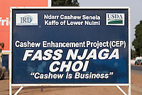 Cashew Nut Sign, Erected by U.S. Department of Agriculture and International Relief and Development (IRD), a Non-Profit NGO. Fass Njaga Choi, The Gambia