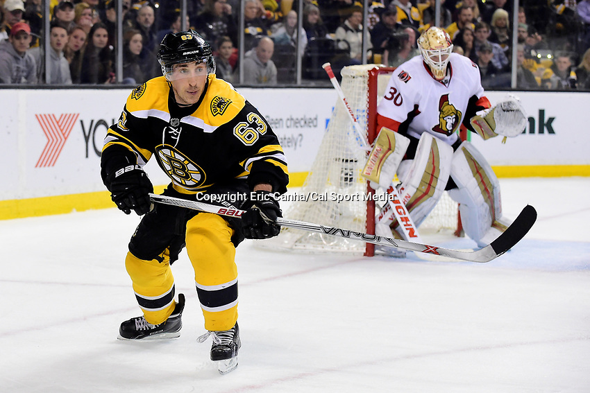 Saturday, April 9, 2016: Boston Bruins left wing Brad Marchand (63) in game action during the National Hockey League game between the Ottawa Senators and the Boston Bruins held at TD Garden, in Boston, Massachusetts. Ottawa defeats Boston 6-1.  Eric Canha/CSM