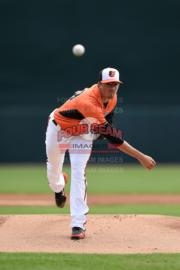 Baltimore Orioles pitcher Kevin Gausman (39) during a spring training game against the Pittsburgh Pirates on March 23, 2014 at Ed Smith Stadium in Sarasota, Florida.  Baltimore and Pittsburgh tied 7-7.  (Mike Janes/Four Seam Images)
