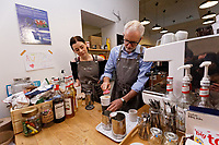 Pictured: Jeremy Corbyn makes coffee at Awesome Wales, a zero waste shop in Barry. Saturday 07 December 2019<br /> Re: Labour Party leader Jeremy Corbyn pre-election campaign in Barry, south Wales, UK.