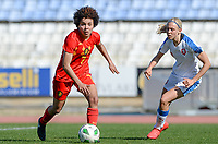 20180228 - LARNACA , CYPRUS :  Belgian Kassandra Missipo (left)  pictured with Czech Katerina Svitkova (r) during a women's soccer game between The Belgian Red Flames and the Czech Republic , on wednesday 28 February 2018 at GSZ Stadium in Larnaca , Cyprus . This is the first game in group B for Belgium during the Cyprus Womens Cup , a prestigious women soccer tournament as a preparation on the World Cup 2019 qualification duels. PHOTO SPORTPIX.BE | DAVID CATRY