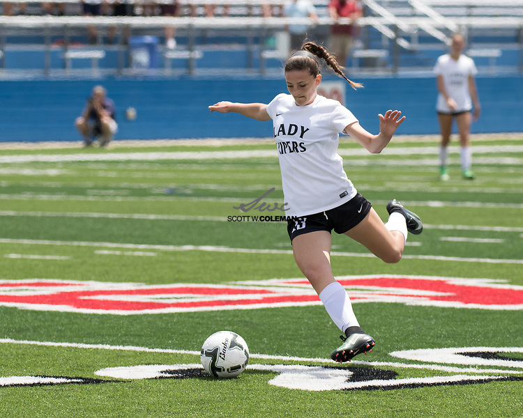 Vandegrift Vipers senior midfielder Jocie Lackey (13) prepares to take a shot on goal during the Class 6A UIL girls soccer state semifinal game between the Vandegrift Vipers and the Katy Tompkins Falcons at Birkelbach Field in Georgetown, Texas, on April 14, 2017. Tompkins won 3-1.