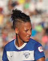 Boston Breakers forward Lianne Sanderson (10). In a National Women's Soccer League (NWSL) match, Boston Breakers (blue) defeated FC Kansas City (white), 1-0, at Dilboy Stadium on August 10, 2013.