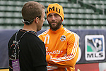19 November 2011: Brad Davis (11) with broadcaster Taylor Twellman. The Houston Dynamo held a practice session at the Home Depot Center in Carson, CA one day before playing in MLS Cup 2011.