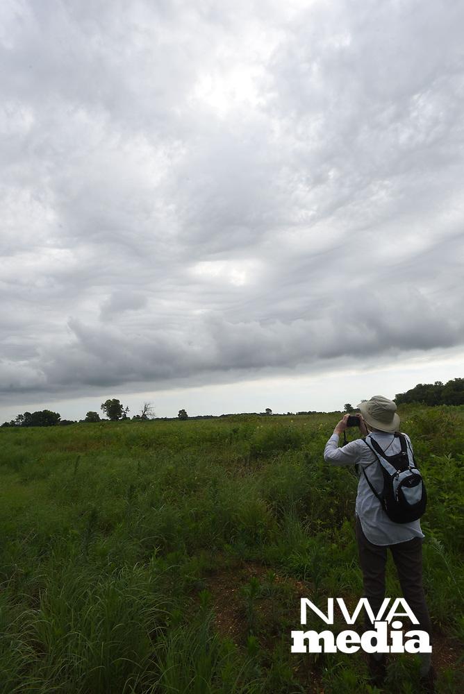 NWA Democrat-Gazette/FLIP PUTTHOFF<br />Joan Reynolds photographs a darkening sky July 8 2017 at Chesney Prairie Natural Area.