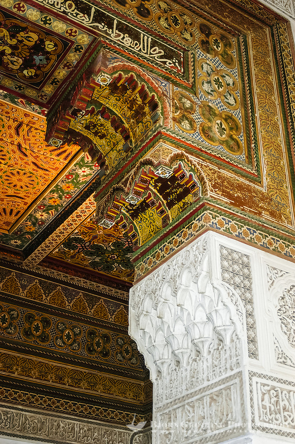 Morocco, Marrakesh. The Bahia Palace is located in Marrakech. Interior details.