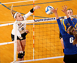 BROOKINGS, SD - SEPTEMBER 1: Hanna Jellema #5 from South Dakota State University tries to get a kill past Desireé Sukhov #6 from CSU Bakersfield during their match Friday night at the Jackrabbit Invitational at Frost Arena in Brookings. (Photo by Dave Eggen/Inertia) (Photo by Dave Eggen/Inertia)