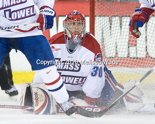 Carter Hutton (Lowell - 30) - The University of Massachusetts-Lowell River Hawks defeated the Boston College Eagles 3-1 (EN) on Saturday, January 23, 2010, at Tsongas Arena in Lowell, Massachusetts.