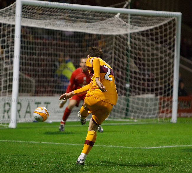 Ross Forbes scores his winning goal for Motherwell late in extra-time as he whacks a shot past Ryan Esson