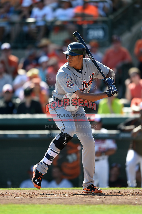 Detroit Tigers outfielder Steven Moya (33) during a Spring Training game against the Baltimore Orioles on March 4, 2015 at Ed Smith Stadium in Sarasota, Florida.  Detroit defeated Baltimore 5-4.  (Mike Janes/Four Seam Images)