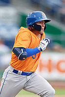 St. Lucie Mets designated hitter Blake Tiberi (3) runs to first base during a game against the Clearwater Threshers on August 11, 2018 at Spectrum Field in Clearwater, Florida.  St. Lucie defeated Clearwater 11-0.  (Mike Janes/Four Seam Images)
