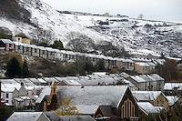 Weather Uk Snow Wales<br /> Sunday 20th November 2016<br /> Snow in the village of New Tredegar in South Wales.