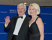 Former Speaker of the United States House of Representatives Newt Gingrich (Republican of Georgia) and his wife, Callista, arrive for the 2015 White House Correspondents Association Annual Dinner at the Washington Hilton Hotel on Saturday, April 25, 2015.<br /> Credit: Ron Sachs / CNP