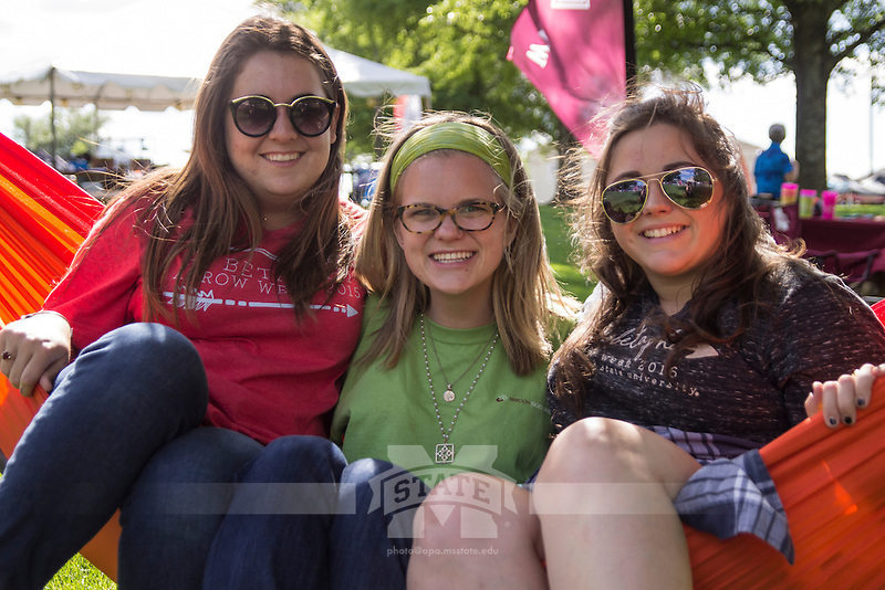 Relay for Life - MSU Amphitheater: Rachel Bluugh, Abbey Wallace, Amanda Hunt.<br />  (photo by Sarah Dutton / &copy; Mississippi State University)