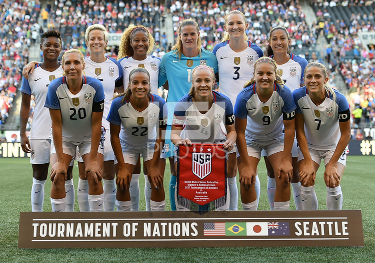 Seattle, WA - Thursday July 27, 2017: U.S. women's national team starting eleven during a 2017 Tournament of Nations match between the women's national teams of the United States (USA) and Australia (AUS) at CenturyLink Field.