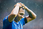 07.04.2018 Rangers v Dundee:<br /> Alfredo Morelos reacts after being shown yellow for colliding with keeper Elliot Parrish