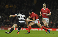 Wales Leigh Halfpenny takes on Barbarians Pete Samu<br /> <br /> Photographer Ian Cook/CameraSport<br /> <br /> 2019 Autumn Internationals - Wales v Barbarians - Saturday 30th November 2019 - Principality Stadium - Cardifff<br /> <br /> World Copyright © 2019 CameraSport. All rights reserved. 43 Linden Ave. Countesthorpe. Leicester. England. LE8 5PG - Tel: +44 (0) 116 277 4147 - admin@camerasport.com - www.camerasport.com