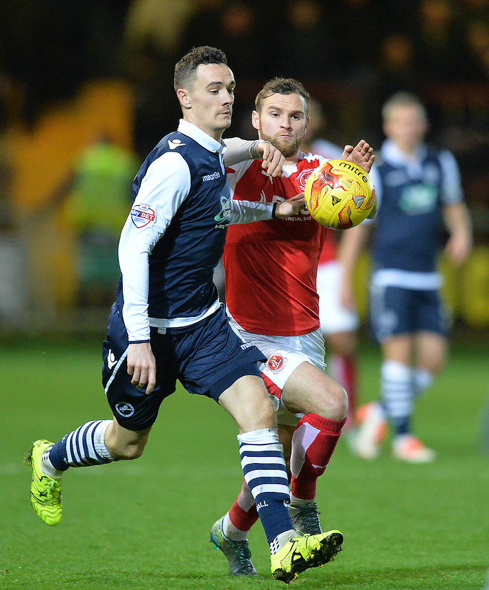 Fleetwood Town's Jimmy Ryan battles for the ball<br /> <br /> Photographer Dave Howarth/CameraSport<br /> <br /> Football - The Football League Sky Bet League One - Fleetwood Town v Millwall - Tuesday 24th November 2015 - Highbury Stadium<br /> <br /> &copy; CameraSport - 43 Linden Ave. Countesthorpe. Leicester. England. LE8 5PG - Tel: +44 (0) 116 277 4147 - admin@camerasport.com - www.camerasport.com
