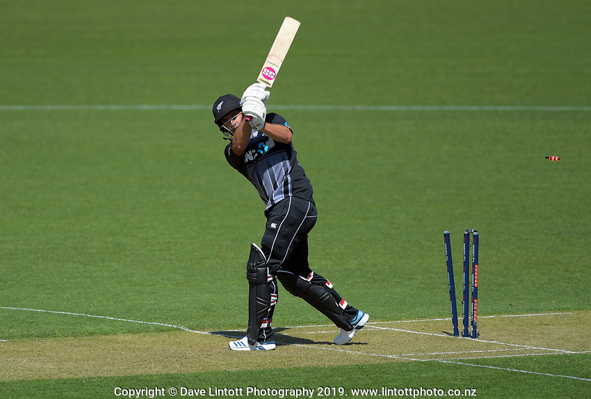 New Zealand's Colin de Grandhomme is bowled. Twenty20 International cricket match between NZ Black Caps and England at Westpac Stadium in Wellington, New Zealand on Sunday, 3 November 2019. Photo: Dave Lintott / lintottphoto.co.nz