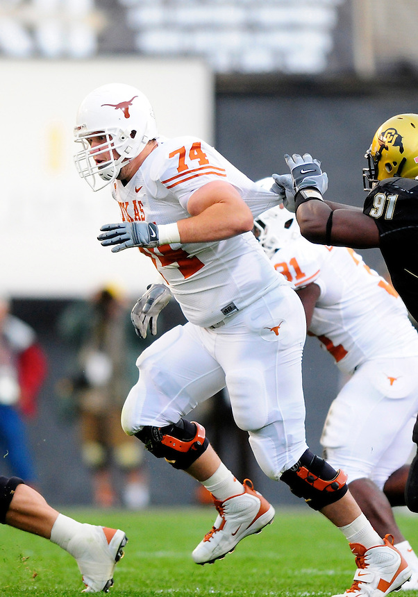 04 October 2008: Texas tackle Adam Ulatoski on a play against Colorado. The Texas Longhorns defeated the Colorado Buffaloes 38-14 at Folsom Field in Boulder, Colorado. For Editorial Use Only