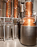 June 18, 2013. Chapel Hill, North Carolina<br />  The multi stage kettle still and distillers at TOPO Distillery.<br />  TOPO, Top of the Hill Distillery, the brainchild of owner Scott Maitland and Spirit Guide Esteban McMahan, is located in the old N&amp;O Building on Franklin Street. Making gin, vodka and American whiskey from locally sourced wheat, they are one of the few distilleries bringing  organic liquor to ABC shelves around the state.