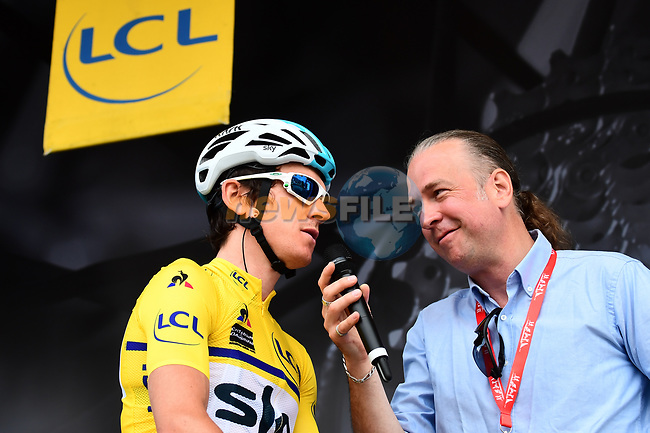 Race leader Geraint Thomas (WAL) Team Sky interviewed on the podium at sign on before the start of Stage 6 of the 2018 Criterium du Dauphine 2018 running 110km from Frontenex to La Rosiere, France. 9th June 2018.<br /> Picture: ASO/Alex Broadway | Cyclefile<br /> <br /> <br /> All photos usage must carry mandatory copyright credit (© Cyclefile | ASO/Alex Broadway)