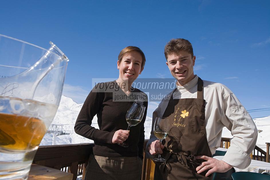 """Europe/France/Rhone-Alpes/73/Savoie/Val-Thorens: Jean Sulpice et son épouse Magali - Restaurant """"l'Oxalys"""""""