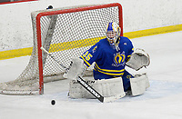Madison West goaltender, Ian Hedican, defends the net lin the first period, as Madison West takes on Verona in Wisconsin Big Eight conference boys high school hockey on Friday, 1/3/20 at the Verona Ice Arena