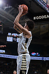 Donovan Mitchell (2) of the Wake Forest Demon Deacons fires up a three-point shot during first half action against the Richmond Spiders at the LJVM Coliseum on December 2, 2017 in Winston-Salem, North Carolina.  (Brian Westerholt/Sports On Film)