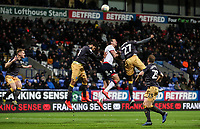 Bolton Wanderers' Jack Hobbs competing in the air <br /> <br /> Photographer Andrew Kearns/CameraSport<br /> <br /> The EFL Sky Bet Championship - Bolton Wanderers v Sheffield Wednesday - Tuesday 12th March 2019 - University of Bolton Stadium - Bolton<br /> <br /> World Copyright © 2019 CameraSport. All rights reserved. 43 Linden Ave. Countesthorpe. Leicester. England. LE8 5PG - Tel: +44 (0) 116 277 4147 - admin@camerasport.com - www.camerasport.com