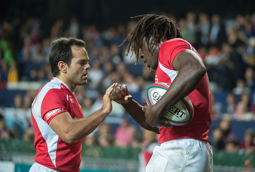 Aderito Esteves of Portugal congratulated by team mate Pedro Leal on his try.Australia vs Portugal.27.03.15. 27th March 2015.