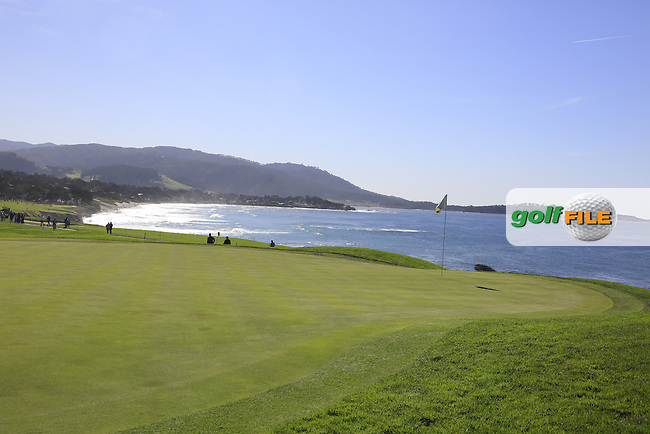 The 13th green at Pebble Beach Golf Links during Sunday's Final Round 4 of the 2017 AT&amp;T Pebble Beach Pro-Am held over 3 courses, Pebble Beach, Spyglass Hill and Monterey Penninsula Country Club, Monterey, California, USA. 12th February 2017.<br /> Picture: Eoin Clarke | Golffile<br /> <br /> <br /> All photos usage must carry mandatory copyright credit (&copy; Golffile | Eoin Clarke)