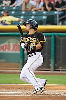 Tommy Field (12) of the Salt Lake Bees at bat against the Tacoma Rainiers in Pacific Coast League action at Smith's Ballpark on July 8, 2014 in Salt Lake City, Utah.  (Stephen Smith/Four Seam Images)