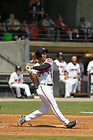 Carolina Mudcats outfielder Corey Ray (2) at bat during a game against the Down East Wood Ducks on April 27, 2017 at Five County Stadium in Zebulon, North Carolina. Carolina defeated Down East 9-7. (Robert Gurganus/Four Seam Images)