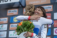 Podium: race winner Anna van der Breggen (NED/Boels Dolmans) getting a hug from 3th place finishing Kasia Niewiadoma (POL)<br /> <br /> La Fl&egrave;che Wallonne Feminine 2017 (1.WWT)<br /> One Day Race: Huy &rsaquo; Mur de Huy (120km)