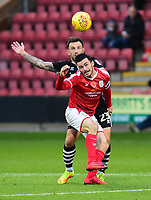 Lincoln City's Neal Eardley vies for possession with Crewe Alexandra's Chris Dagnall<br /> <br /> Photographer Andrew Vaughan/CameraSport<br /> <br /> The EFL Sky Bet League Two - Crewe Alexandra v Lincoln City - Saturday 11th November 2017 - Alexandra Stadium - Crewe<br /> <br /> World Copyright &copy; 2017 CameraSport. All rights reserved. 43 Linden Ave. Countesthorpe. Leicester. England. LE8 5PG - Tel: +44 (0) 116 277 4147 - admin@camerasport.com - www.camerasport.com