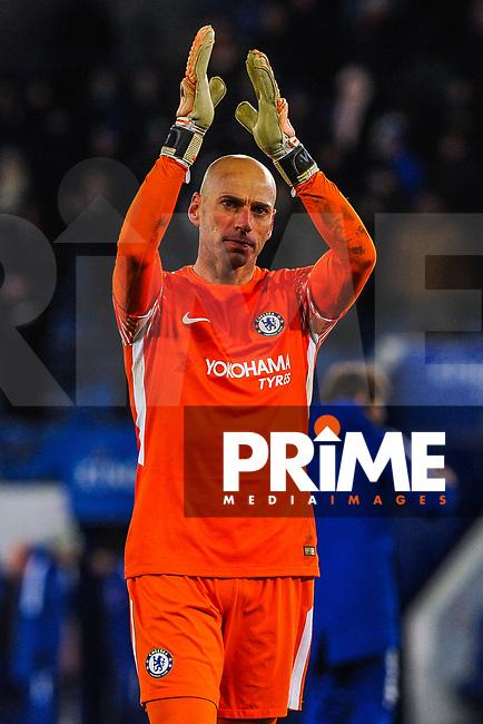 Chelsea's Willy Cabellero during the FA Cup QF match between Leicester City and Chelsea at the King Power Stadium, Leicester, England on 18 March 2018. Photo by Stephen Buckley / PRiME Media Images.