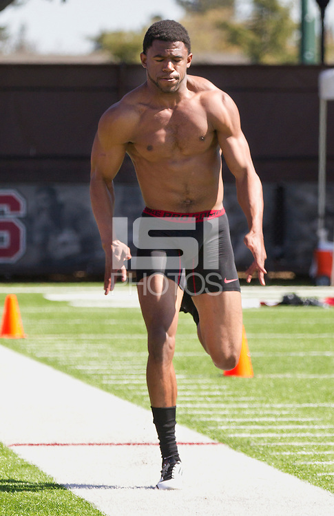Stanford, CA.,-- Terrence Brown during Stanford Football Pro Timing Day on Thursday, March 21, 2013. ( Norbert von der Groeben )