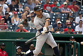 New York Yankees left fielder Giancarlo Stanton (27) bats in the seventh inning against the Washington Nationals at Nationals Park in Washington, D.C. on Monday, June 18, 2018.  This is to complete the game that was suspended after the top of the sixth inning on May 15, 2018 with the score tied 3 - 3. <br /> Credit: Ron Sachs / CNP<br /> (RESTRICTION: NO New York or New Jersey Newspapers or newspapers within a 75 mile radius of New York City)