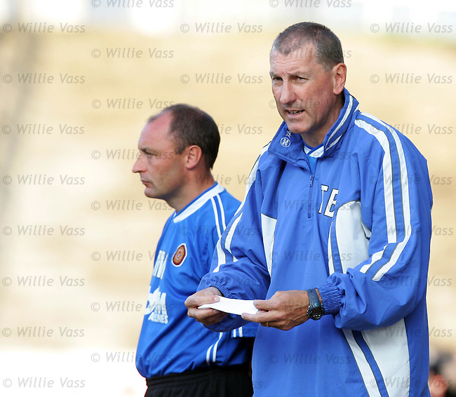 Terry Butcher & Maurice Malpas, Motherwell.stock season 2004-2005.pic willie vass