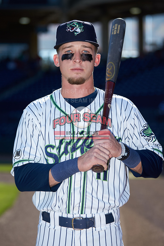 Gwinnett Braves outfielder Drew Waters (11) poses for a photo prior to the game against the Scranton/Wilkes-Barre RailRiders at BB&T BallPark on August 18, 2019 in Lawrenceville, Georgia. The RailRiders defeated the Stripers 9-3. (Brian Westerholt/Four Seam Images)