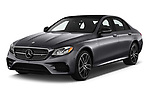 2019 Mercedes Benz E-Class AMG-E53 4 Door Sedan Angular Front stock photos of front three quarter view