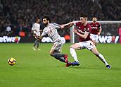 4th February 2019, London Stadium, London, England; EPL Premier League football, West Ham United versus Liverpool; Declan Rice of West Ham United challenges Mohamed Salah of Liverpool