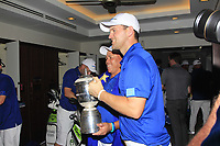 Bernd Wiesberger and caddy Shane with the Eurasia Cup after Team Europe overcame Asia 14/10 at Glenmarie Golf and Country Club on the Sunday 14th January 2018.<br /> Picture:  Thos Caffrey / www.golffile.ie