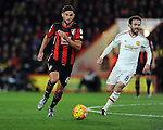 Andrew Surman of Bournemouth and Juan Mata of Manchester United<br /> - Barclays Premier League - Bournemouth vs Manchester United - Vitality Stadium - Bournemouth - England - 12th December 2015 - Pic Robin Parker/Sportimage