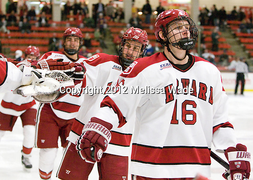 (Everson, Biega) Alex Fallstrom (Harvard - 16) - The Harvard University Crimson defeated the visiting Yale University Bulldogs 8-2 in the third game of their ECAC Quarterfinal matchup on Sunday, March 11, 2012, at Bright Hockey Center in Cambridge, Massachusetts.